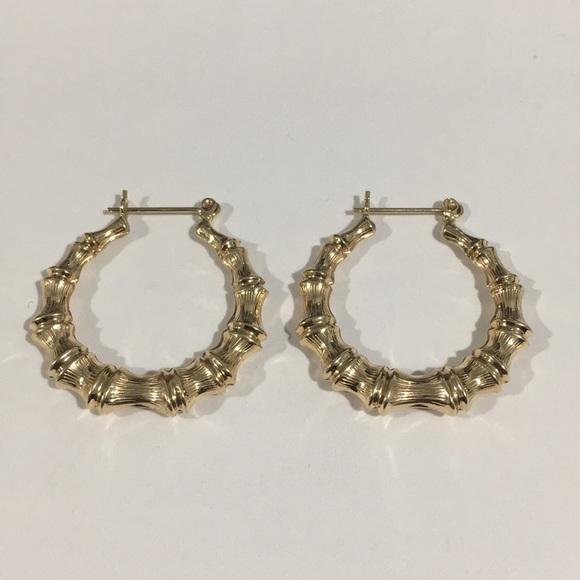 cca6dfcf3 Jewelry | 14k Yellow Gold Bamboo Hoop Earrings | Poshmark